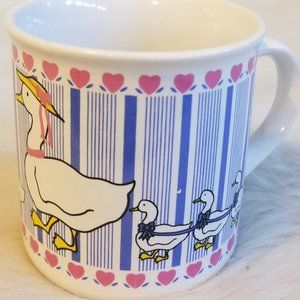 Geese & Hearts Coffee Mug Vintage 1980's